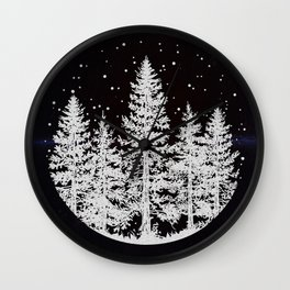 Trees in a Winter Forest Wall Clock