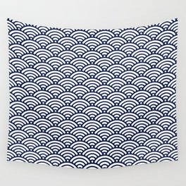 Navy Blue Seigaiha Sea Wave Nautical Minimalist Wall Tapestry
