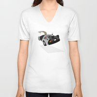 delorean V-neck T-shirts featuring Delorean (The 2015 Collection) by Cal Chan