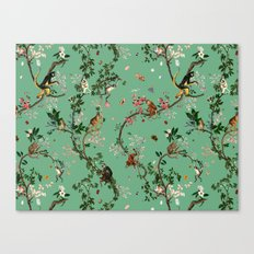 Monkey World Green Canvas Print