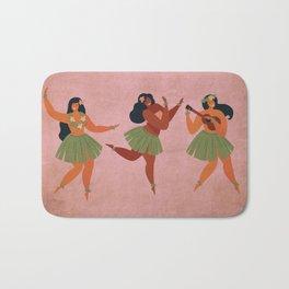 Hawaiian Hula Dancer Girls on Aged Pink Bath Mat