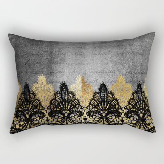 Pure elegance II - Luxury Gold and black lace on grunge dark backround Rectangular Pillow