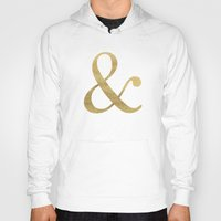 gold glitter Hoodies featuring Gold Glitter Ampersand by Tamsin Lucie