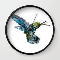 hummingbird Wall Clocks featuring Hummingbird by madbiffymorghulis