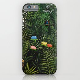 Jungle with Tiger and Hunters by Henri Rousseau iPhone Case