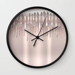 Icy Pink Rose Gold Diamond Dust Glitter Drips Wall Clock