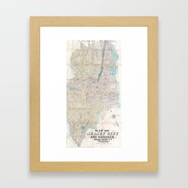 Vintage Map of Jersey City and Hoboken (1886) Framed Art Print