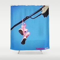 sneakers Shower Curtains featuring DISCO SNEAKERS  by Punkboy Marti