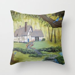 Whimsical Cottage in the Woods Throw Pillow