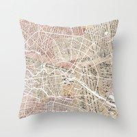 berlin Throw Pillows featuring Berlin by Mapsland