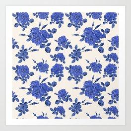 Beautiful seamless blue roses pattern on light background Art Print
