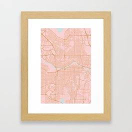 Calgary map, Canada Framed Art Print