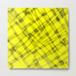 Bright metal mesh with yellow intersecting diagonal lines and stripes. Metal Print
