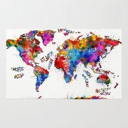 world map color splatter 1 Rug