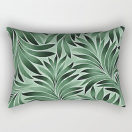 Graceful Leaves In Jade And Marine Green Shades Rectangular Pillow
