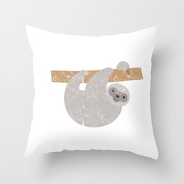 Vintage Sloth Running Team Funny Sloth Distressed Throw Pillow