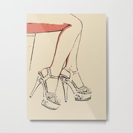 Simply sexy, perfect girl legs, hot, kinky high heels, sensual erotic close up, fit woman body, nude Metal Print