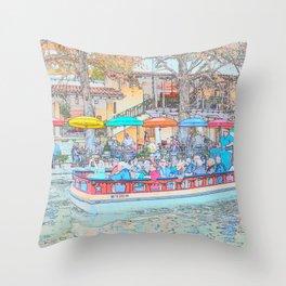 Ride Down The River - San Antonio, Texas Throw Pillow