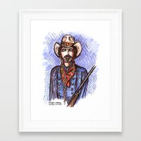 tom selleck Framed Art Prints featuring Quigley Down Under, Tom Selleck Drawing by Douglas Mooney