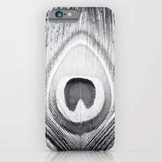 Black and White Peacock Feather Photography, Grey Nature, Neutral Gray Feathers Slim Case iPhone 6s