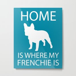 French Bulldog Silhouette Art, Minimalist Dog Breed Art Metal Print