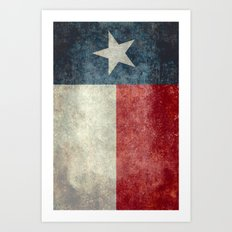 Texas state flag, Vintage banner version Art Print