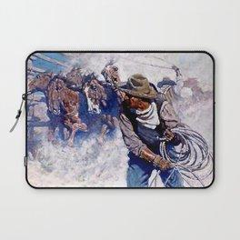 """N C Wyeth Painting """"Roping Wild Horses"""" Laptop Sleeve"""