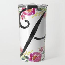 Floral P Monogram Travel Mug