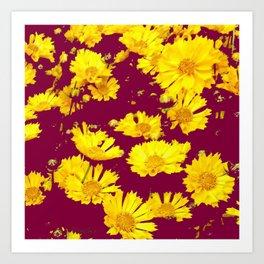 BURGUNDY-YELLOW  FLORAL COREOPSIS  PATTERN ART Art Print