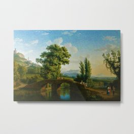 Italian Landscape with a Bridge and View of Monte Sarchio by Jakob Philipp Hackert Metal Print