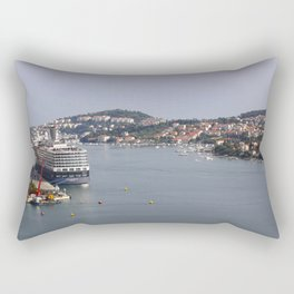 Dubrovnik in Croatia with its Bay and large Passenger Ships Rectangular Pillow