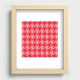 Houndstooth - Pink & Red Recessed Framed Print