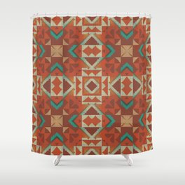 Native American Indian Tribal Mosaic Rustic Cabin Pattern Shower Curtain