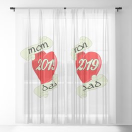 Mom and Dad 2019 Heart Sheer Curtain