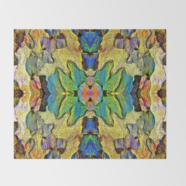 Colorful  Nature Wood Pattern Psychedelic Art Throw Blanket