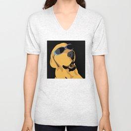 Sunglass dog blue Unisex V-Neck