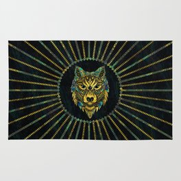 Tribal Wolf - Gold and Marble Decorated Rug