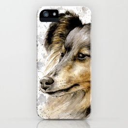 Border collie dog watercolor painting iPhone Case