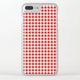 Christmas gingham pattern red and green cute gifts home decor for the holidays Clear iPhone Case