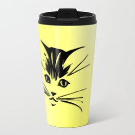 Light Cadmium Yellow Kitty Cat Face Travel Mug