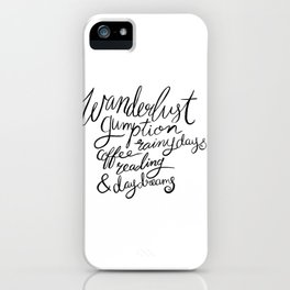 Wanderlust Words - Black Brush Lettering iPhone Case