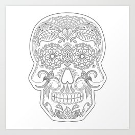 Color Me Day of the Dead Skull Art Print