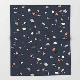 Midnight Navy Terrazzo #1 #decor #art #society6 Throw Blanket