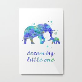 Elephant Dream Big Little One Watercolor Painting Metal Print