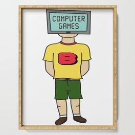 Best Trending Gaming Tshirt Design Human Computer Serving Tray