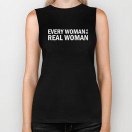 Every Woman is a Real Woman (white) Biker Tank