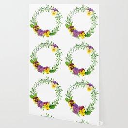 Watercolor pansies wreath Wallpaper