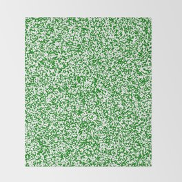Tiny Spots - White and Green Throw Blanket