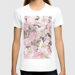 Floral Vintage painterly background in pink with Roses Flowers and insect T-shirt
