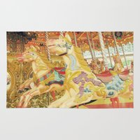 carousel Area & Throw Rugs featuring Carousel Horse by WhimsyRomance&Fun